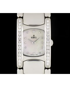 Ebel Stainless Steel Mother Of Pearl Dial Diamond Set Beluga Manchette Ladies 9057A28-991050