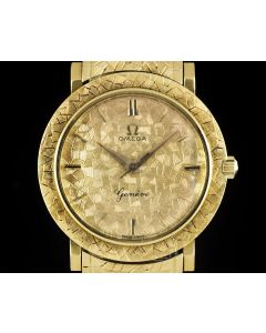 Omega Vintage Gents Dress Watch 18k Yellow Gold Champagne Dial