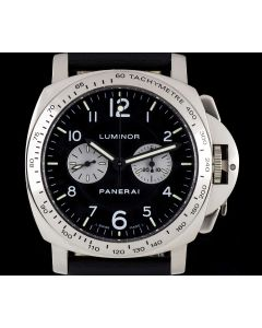 Panerai Rare Luminor Chronograph 18k White Gold Black Dial PAM00189