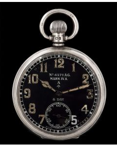 Octava Rare 8 Day Military Silver Vintage Pocket Watch Black Dial