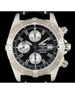 Breitling Unworn Chronomat Evolution Chronograph NOS Gents Stainless Steel Black Dial B&P A13356