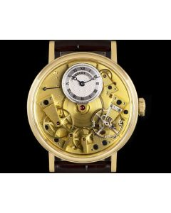 Breguet Tradition Gents 18k Yellow Gold Champagne Open Worked Dial 7037BA/11/9V6