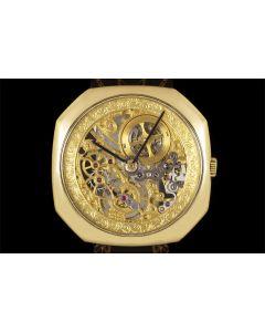 Audemars Piguet Rare Skeleton Octagonal Case Yellow Gold Men's Watch