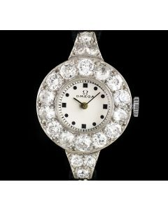 Omega Platinum Diamond Set Vintage Ladies Wristwatch
