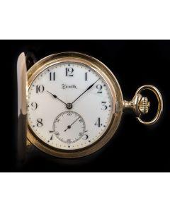 Zenith Full Hunter Pocket Watch 18k Rose Gold White Enamel Dial