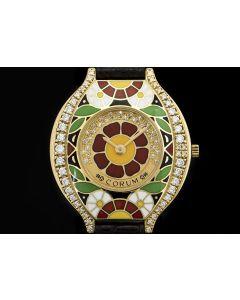 Corum Diamond & Enamel Set Ladies Wristwatch 18k Yellow Gold Red Floral Motif 24.115.65