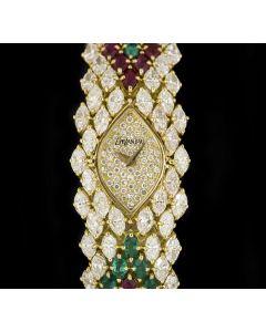 DeLaneau Cocktail Ladies 18k Yellow Gold Pave Diamond Dial Diamond Ruby & Emerald Set
