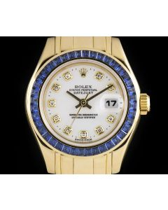 Rolex Pearlmaster Datejust Women's 18k Yellow Gold White Diamond Dial Sapphire Bezel 69308