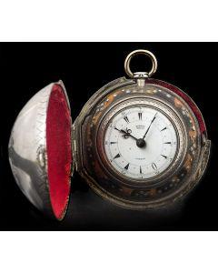 Edward Prior Rare Vintage Silver Triple Case Pocket Watch White Enamel Dial