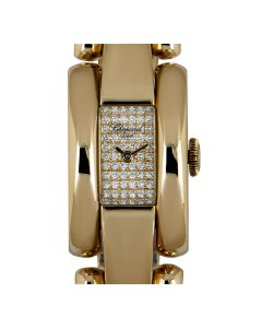 Chopard La Strada Women's 18k Yellow Gold Pave Diamond Dial B&P 41/7396-0002