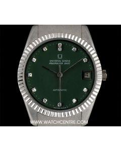 Universal 18k White Gold Green Enamel Diamond Dial Vintage Gents Dress Wristwatch