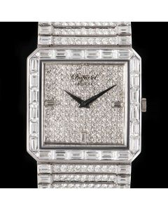 Chopard Fully Loaded Women's 18k White Gold Pave Diamond Dial Diamond Set