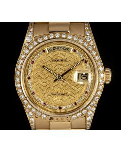 Rolex Day-Date Men's 18k Yellow Gold Very Rare Decorated Diamond & Ruby String Dial 18138