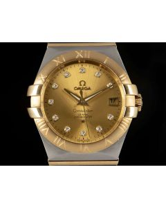 Omega Constellation Gents Stainless Steel & 18k Yellow Gold Champagne Diamond Dial 123.20.35.20.58.001