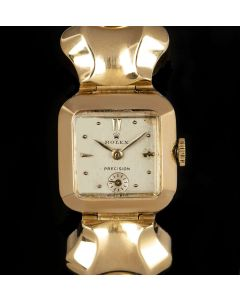 Rolex Vintage Precision Women's 18k Yellow Gold Silver Dial