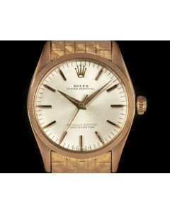 Rolex Rare Oyster Perpetual Vintage Women's 18k Red Gold Florentine Finish 6551