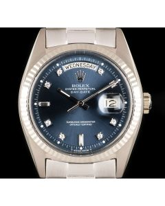 Rolex Day-Date Vintage Men's 18k White Gold Blue Diamond Dial 1803