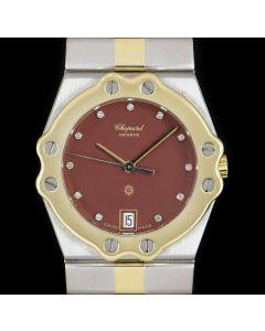 Chopard St. Moritz Ladies Stainless Steel & 18k Yellow Gold Maroon Diamond Dial 8047
