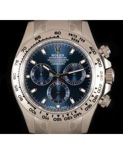 Rolex Unworn Daytona White Gold Bright Blue Dial B&P 116509