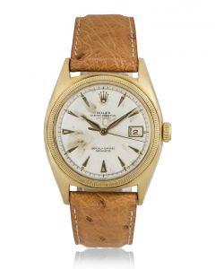 Rolex 18k Yellow Gold Silver Dial Semi Bubble Back Red Datejust Vintage Men's 6075