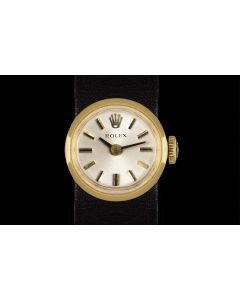 Rolex Chameleon Vintage Women's 18k Yellow Gold Silver Dial B&P