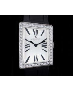 Vacheron Constantin 1972 Asymmetric Mid-Size 18k White Gold Silver Dial Diamond Set 25520