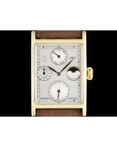IWC Novecento Perpetual Calendar Men's 18k Yellow Gold Silver Dial B&P 3546
