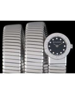 Bvlgari Tubogas Women's Stainless Steel Black Diamond Dial BB 19 1TS