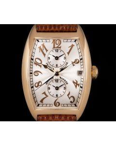 Franck Muller Master Banker Triple Time Zone Gents 18k Rose Gold Silver Guilloche Dial B&P 2852 MB