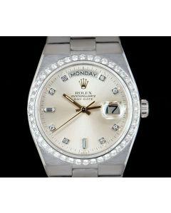 Rolex Rare Oysterquartz Day-Date Men's 18k White Gold Silver Dial Diamond Set 19049