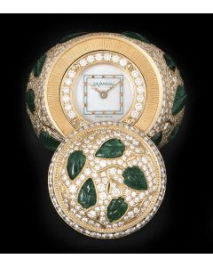 DeLaneau Limited Edition Ring Watch 18k Rose Gold White Mother of Pearl Dial Diamond & Emerald Set
