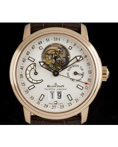 Blancpain 18k Rose Gold Silver Dial Leman Tourbillon Semainier Grande Date 2925-3642-53B
