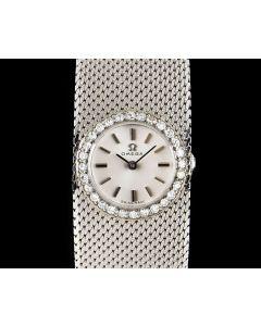 Omega Unworn Diamond Set Vintage NOS Ladies Cocktail Watch 18k White Gold Silver Dial 7174