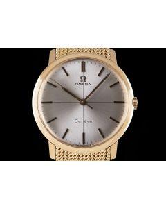 Omega Unworn Gents Vintage NOS Dress Watch 18k Rose Gold Silver Dial 240750