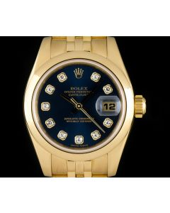 Rolex 18k Yellow Gold Blue Diamond Dial Datejust Women's 179168