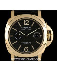 Panerai 18k Yellow Gold Carbon Fibre Dial Luminor Marina Gents PAM00140