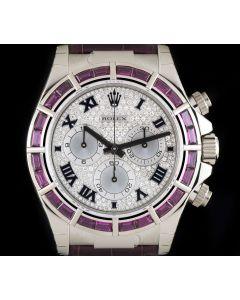 Rolex Unworn 18k White Gold Pav Diamond Dial Ruby Bezel Daytona B&P 116589SALV
