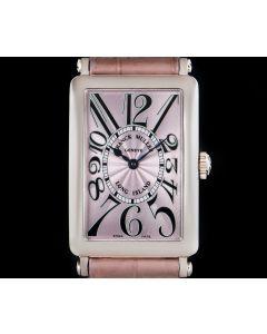 Franck Muller Long Island Women's 18k White Gold Pink Guilloche Dial B&P 950 QZ