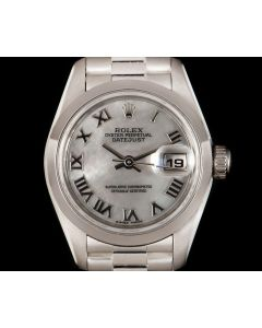 Rolex Datejust Women's Platinum Silver Mother of Pearl Dial 79166