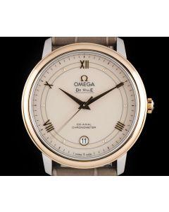 Omega De Ville Unworn Gents Stainless Steel & 18k Rose Gold White Dial B&P 424.23.37.20.09.001
