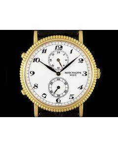 Patek Philippe Calatrava Travel Time Men's 18k Yellow Gold White Dial B&P 5034J-001