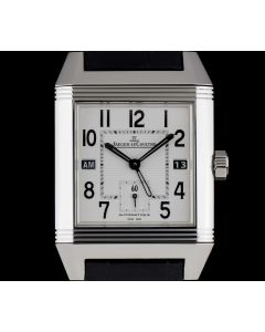 Jaeger LeCoultre Reverso Squadra Hometime Gents Stainless Steel Silver Dial B&P 230.8.77