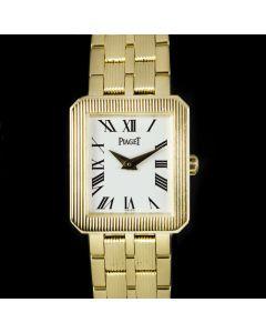 Piaget Protocole Ladies 18k Yellow Gold White Roman Dial B&P 5354 M601D