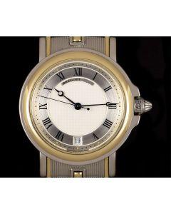 Breguet Horloger De La Marine Gents Stainless Steel & 18k Yellow Gold Silver Guilloche Dial 3400SA/12/X90