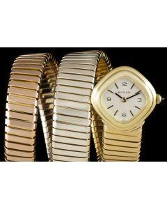 Bvlgari Rare Tubogas Ladies Automatic Wristwatch 18k Tri-Gold Silver Dial