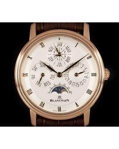 Blancpain Villeret Perpetual Calendar Gents 18k Rose Gold Silver Opaline Dial 6057-3642A-53B