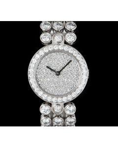 Harry Winston Dress Watch Ladies Platinum Pave Diamond Dial Diamond Set
