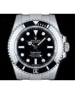 Rolex Unworn Submariner Non-Date Men's Stainless Steel Black Dial Ceramic Bezel B&P 114060