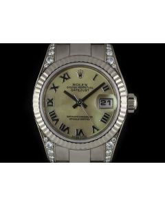 Rolex 18k White Gold Mother Of Pearl Dial Diamond Set Datejust Women's 179239