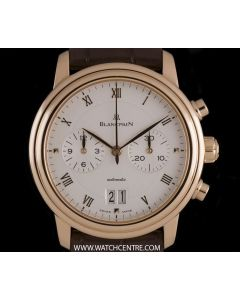 Blancpain 18k Rose Gold Silver Roman Dial Villeret Chronograph 6885 3642 55B